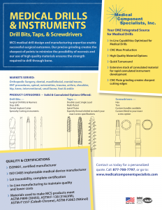 Medical Drills & Instruments- Drill Bits, Taps, Screwdrivers Datasheet