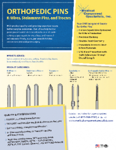Orthopedic Pins- K Wires, Stenmann Pins, Trocars Datasheet
