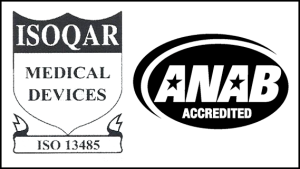 ISO13485 Implantable Medical Device Manufacturer Icon and ANAB Accredited Icon