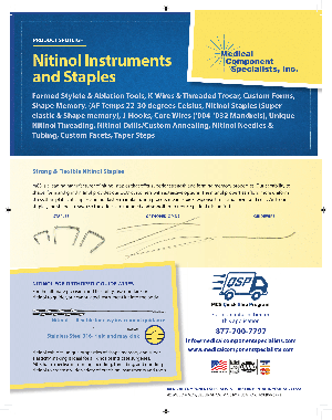 Nitinol Instruments and Staples Datasheet